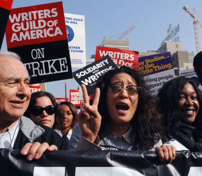 Actress Sandra Oh joins Writers Guild of America (WGA) members as they marched down Hollywood Boulevard in Los Angeles on Novemeber 20, 2007, along with supporters on the 16th day of their strike against the Alliance of Motion Picture and Television Producers (AMPTP). (UPI Photo/Jim Ruymen).
