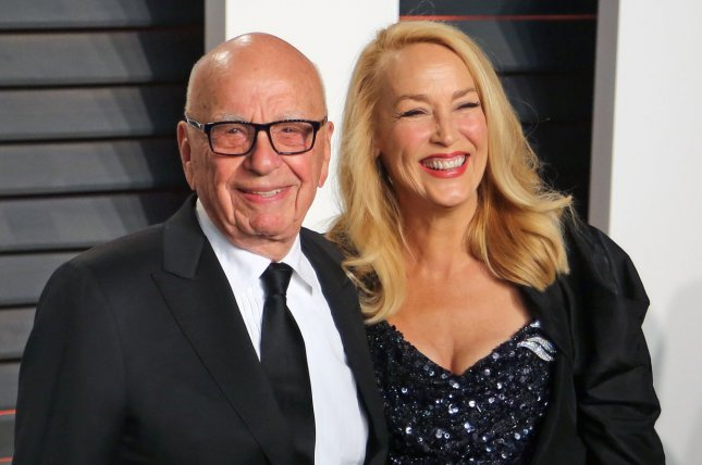 Jerry Hall (R) and Rupert Murdoch at the Vanity Fair Oscar party on February 28. The couple married March 5 in London. File Photo by David Silpa/UPI