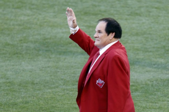 Former Cincinnati Reds Pete Rose waves to the crowd before the start of the 86th All-Star Game at Great American Ball Park in Cincinnati, Ohio on July 14, 2015. Photo by John Sommers II/UPI