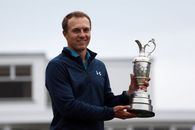 American Jordan Spieth holds the Claret jug after victory at the 146th Open Championship at Royal Birkdale Golf Club, Southport on July 23, 2017. Spieth won in a combined score of 268, twelve under par. Spieth will be chasing a career Grand Slam during the 99th PGA Championship. File photo by Hugo Philpott/UPI