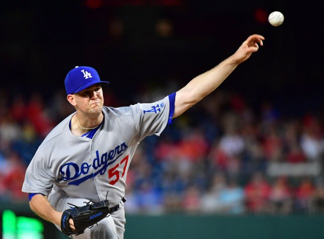 Los Angeles Dodgers starting pitcher Alex Wood throws against the Washington Nationals in the first inning at Nationals Park in Washington, D.C. on Friday. Photo by Kevin Dietsch/UPI