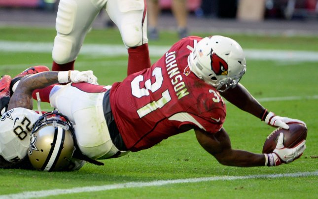 Arizona Cardinals running back David Johnsonscores a touchdown in a game against the New Orleans Saints. Photo by Art Foxall/UPI