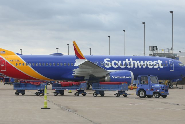 A Southwest 737 Max 8 airliner parks at St. Louis-Lambert International Airport in St. Louis, Mo., on March 13, its last flight before the model was grounded in the United States. File Photo by Bill Greenblatt/UPI