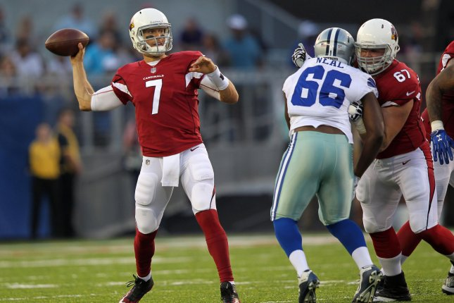 Former Arizona Cardinals quarterback Blaine Gabbert (7) was the No. 10 overall pick in the 2011 NFL Draft. File Photo by Aaron Josefczyk/UPI