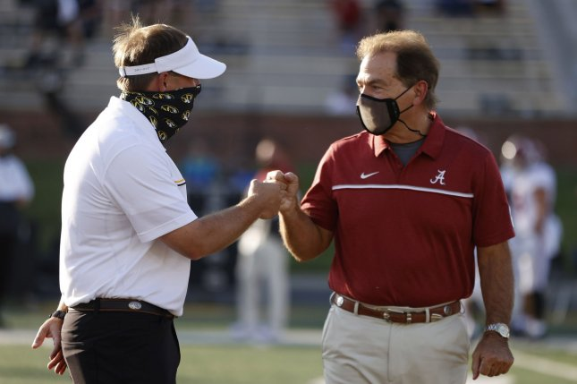 Alabama head football coach Nick Saban (R) initially tested positive for COVID-19 on Wednesday. File Photo by Kent Gidley/UPI