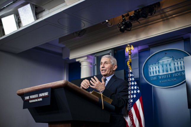 Dr. Anthony Fauci, director of the National Institute of Allergy and Infectious Diseases, is seen during a news conference in the James S. Brady Press Briefing Room at the White House in Washington, D.C., on January 21. Photo by Al Drago/UPI