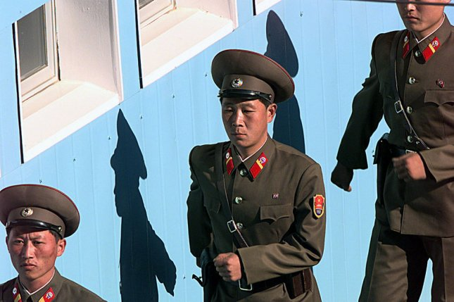 North Korean soldiers march at the truce village of Panmunjom. On Wednesday, Pyongyang blamed South Korean President Park Geun-hye's clique of conservatives for spreading negative perceptions of North Korea. File Photo by James Mossman/USAF