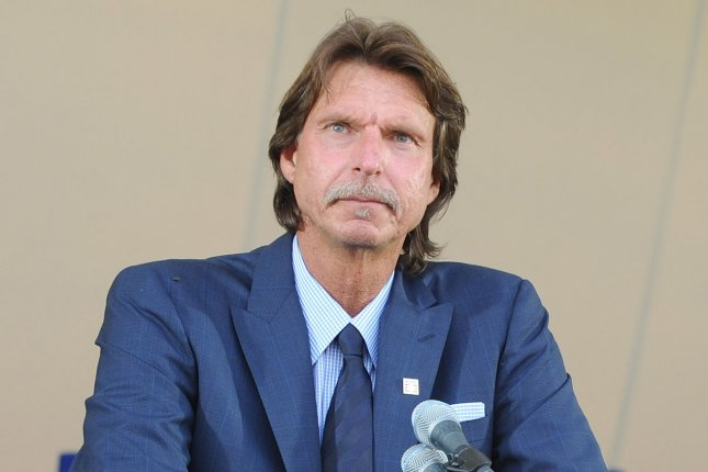 Randy Johnson makes his induction speechat the Baseball Hall of Fame induction in Cooperstown, NY on July 26, 2015. The four newest members of the National Baseball Hall of Fame, Randy Johnson, Craig Biggio, Pedro Martinez and John Smoltz, will take their permanent place in Cooperstown on Sunday, July 26, highlighting four days of celebratory events and programs for baseball fans of all ages, as part of Hall of Fame Weekend 2015. Photo by George Napolitano/UPI