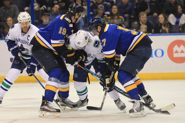 St. Louis Blues Jay Bouwmeester (L) and David Perron box in Vancouver Canucks Markus Granlund in the second period at the Scottrade Center in St. Louis on February 16, 2017. Photo by BIll Greenblatt/UPI