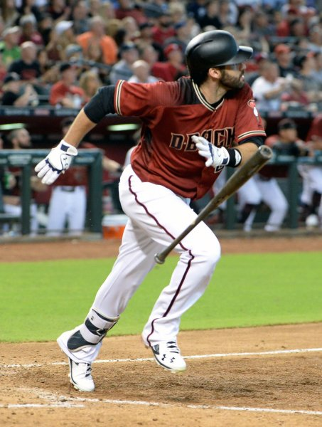 Arizona Diamondbacks batter J. D. Martinez watches the flight of his second home run of the game in the sixth inning of Sunday's win over the San Diego Padres. Photo by Art Foxall/UPI
