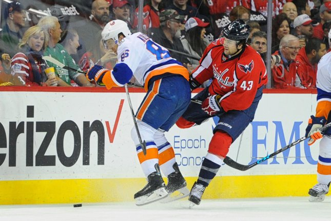 New York Islanders left wing Nikolay Kulemin (86) collides with Washington Capitals right wing Tom Wilson (43) knocking him to the ice in the first period at the Verizon Center in Washington, D.C. on April 5, 2016. File photo by Mark Goldman/UPI