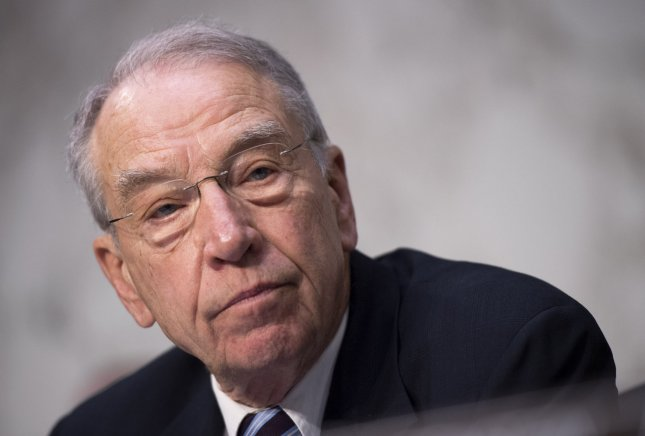 Senate judiciary committee Chairman Chuck Grassley, R-Iowa, released text messages between two FBI employees involved in the Clinton and Trump probes. File Photo by Kevin Dietsch/UPI