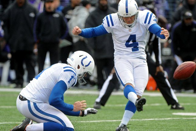 Indianapolis Colts kicker Adam Vinatieri. File photo by Kevin Dietsch/UPI