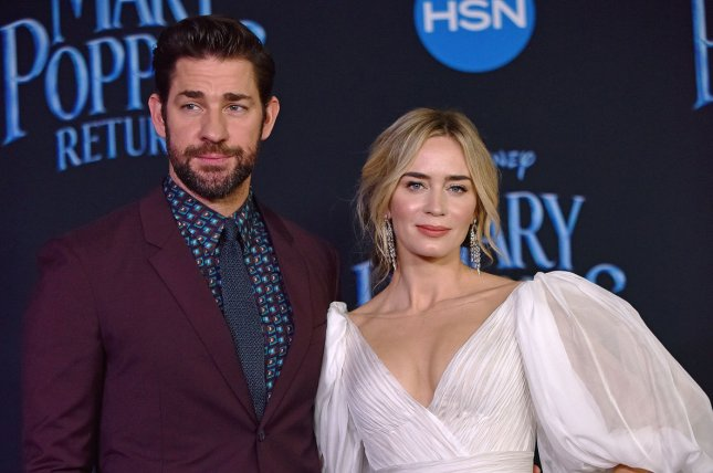 Emily Blunt (R) and John Krasinski attend the Los Angeles premiere of Mary Poppins Returns on Thursday. Photo by Christine Chew/UPI
