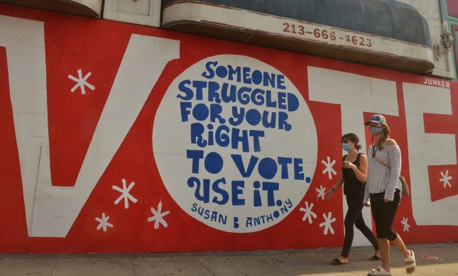 A mural in the Atwater Village section of Los Angeles, Calif., pictured on October 10, urges citizens to vote in the 2020 general election. Photo by Jim Ruymen/UPI