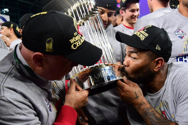 Former Washington Nationals infielder Howie Kendrick (R) belted the go-ahead home run in Game 7 of the World Series to help the Nationals win their first title in franchise history. File Photo by Kevin Dietsch/UPI