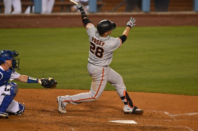 San Francisco Giants catcher Buster Posey, shown May 28, 2021, hasn't played since July 4 against the Arizona Diamondbacks due to the thumb injury. File Photo by Jim Ruymen/UPI