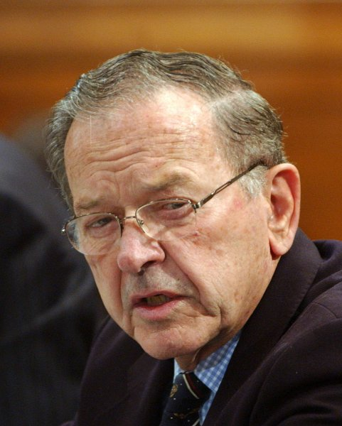 Sen. Ted Stevens (R-AK), seen in this November 29, 2005 file photo on Capitol Hill, has been indicted on seven counts failing to disclose thousands of dollars in services he received to renovate his home, in Washington on July 29, 2008. (UPI Photo/Roger L. Wollenberg/File)