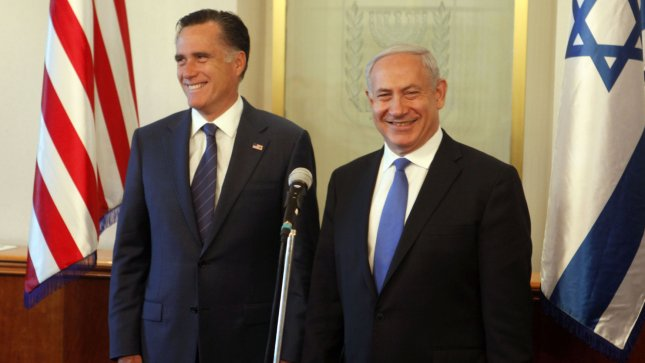 Israeli Prime Minister Benjamin Netanyahu and U.S. Republican presidential candidate Mitt Romney (L) speak before a meeting at the Prime Minister's office on July 29, 2012 in Jerusalem, Israel. UPI/Lior Mizrahi/Pool