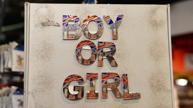 Magnets spelling Boy or Girl at the Cool Britannia, Piccadilly ahead of the birth of the first baby of The Duke and Duchess Of Cambridge in London on July 17, 2013. UPI/ Rune Hellestad