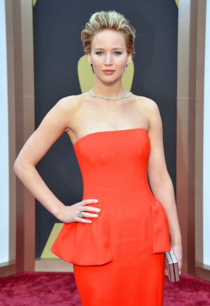 Jennifer Lawrence arrives on the red carpet at the 86th Academy Awards at Hollywood & Highland Center in the Hollywood section of Los Angeles on March 2, 2014. UPI/Kevin Dietsch