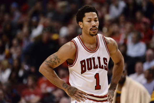 Former Chicago Bulls guard Derrick Rose stands on the court during the fourth quarter of game 6 of the Eastern Conference Semifinals of the NBA Playoffs against the Cleveland Cavaliers at the United Center on May 14, 2015 in Chicago. Photo by Brian Kersey/UPI
