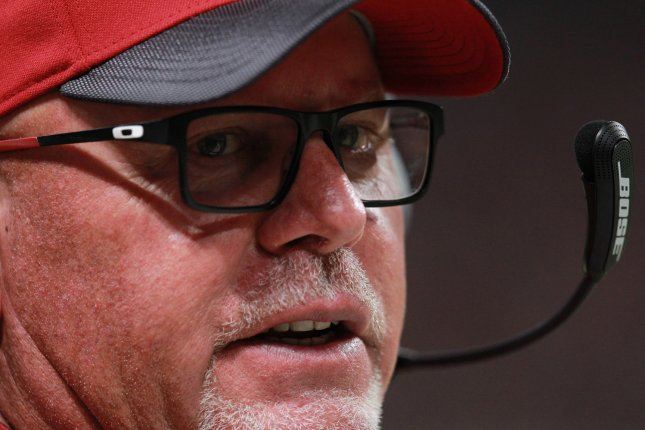Arizona Cardinals head football coach Bruce Arians watches the action against the St. Louis Rams in the fourth quarter at the Edward Jones Dome in St. Louis on December 6, 2015. Photo by Bill Greenblatt/UPI