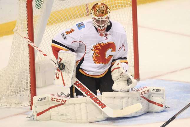 Brian Elliott stopped 24 shots as the Calgary Flames recorded a 4-2 win over the Colorado Avalanche at the Scotiabank Saddledome. File Photo by Bill Greenblatt/UPI