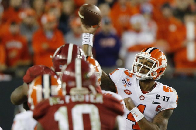 Former Clemson Tigers quarterback Deshaun Watson in expected to be a first-round selection in Thursday's 2017 NFL Draft in Philadelphia, Pa. File Photo by Mark Wallheiser/UPI