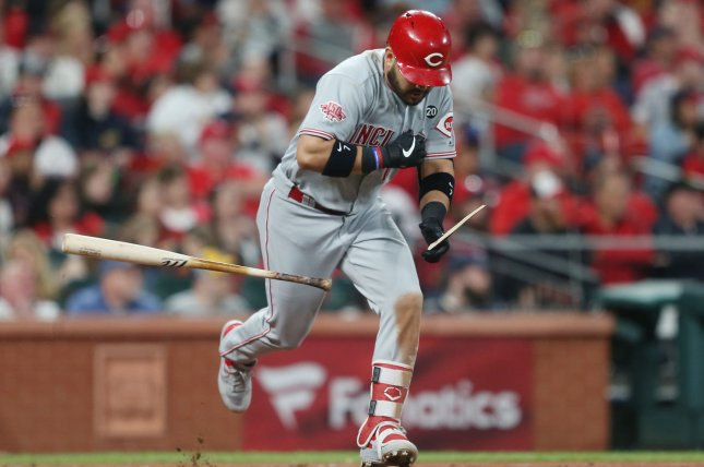 Cincinnati Reds third baseman Eugenio Suarez is now hitting .248 with 17 home runs and 48 RBIs after collecting two hits in a win against the Chicago Cubs Sunday in Cincinnati. File Photo by Bill Greenblatt/UPI