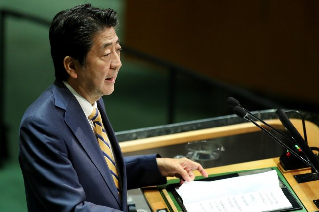 Japanese Prime Minister Shinzo Abe addresses the 74th United Nations General Assembly in New York on Tuesday. Photo by Monika Graff/UPI