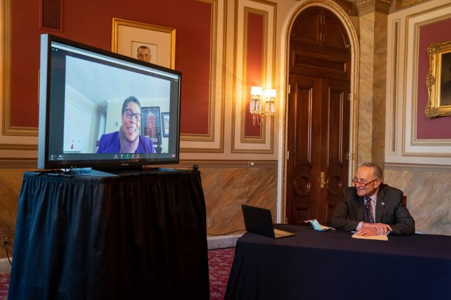 Senate Democratic leader Charles Schumer speaks during a video conference with Marcia Fudge, President Joe Biden's nominee for secretary of the Department of Housing and Urban Development, on Capitol Hill in Washington, D.C., on December 17, 2020. File Photo by Ken Cedeno/UPI