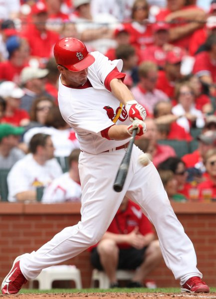 St. Louis Cardinals David Freese connects for a solo home run in the fourth inning against the Cincinnati Reds at Busch Stadium in St. Louis on May 1, 2010. St. Louis won the game 6-3. UPI/Bill Greenblatt