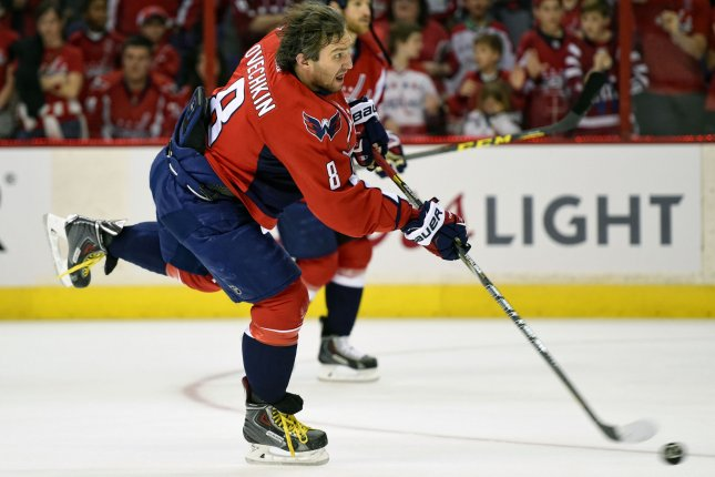 Washington Capitals left wing Alex Ovechkin (8) warms up prior to the second game of Round 1 of the Stanley Cup Playoffs at the Verizon Center in Washington, D.C. on April 17, 2015. Photo by Mark Goldman/UPI