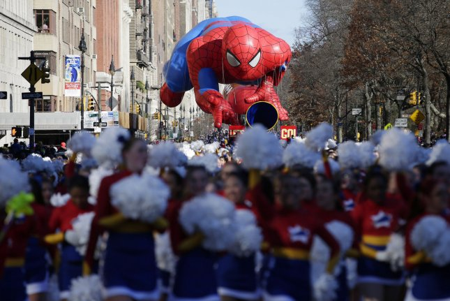 The Spider-Man balloon at the Macy's 87th annual Thanksgiving Day Parade in New York City on November 28, 2013. File Photo by John Angelillo/UPI