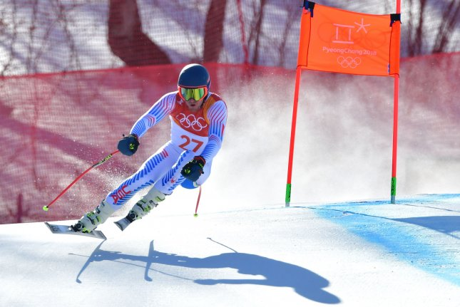 American Ted Ligety competes in the downhill portion of the Men's Alpine Combined during the 2018 Winter Olympics in Pyeongchang, South Korea, on Monday. Ligety, of Park City, Utah, finished fifth. Photo by Kevin Dietsch/UPI