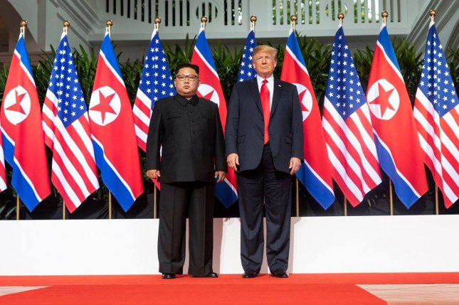 President Donald Trump meets with North Korean leader Kim Jong Un on Tuesday, at Singapore's Capella Hotel in what is the first meeting between a sitting U.S. president and a North Korean leader. Photo by Shealah Craighead/UPI
