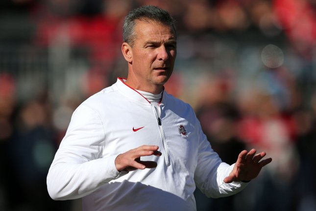 Ohio State head coach Urban Meyer instructs his team prior to a game against Nebraska on November 3, 2018 in Columbus. Photo by Aaron Josefczyk/UPI