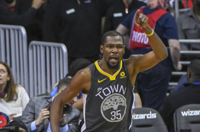 Golden State Warriors forward Kevin Durant (35). Photo by Mark Goldman/UPI