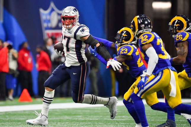 New England Patriots tight end Rob Gronkowski said he'll take a few weeks to consider retirement, following his team's Super Bowl LIII victory against the Los Angeles Rams on Sunday at Mercedes-Benz Stadium in Atlanta. Photo by Kevin Dietsch/UPI