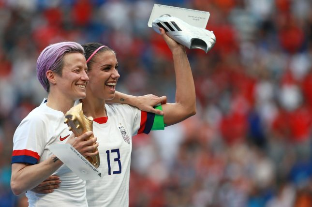 Megan Rapinoe (L) and Alex Morgan (R) led the United States women's soccer team to its second consecutive World Cup title, beating the Netherlands 2-0 in the 2019 FIFA Women's World Cup final July 7 in Lyon, France. Photo by David Silpa/UPI