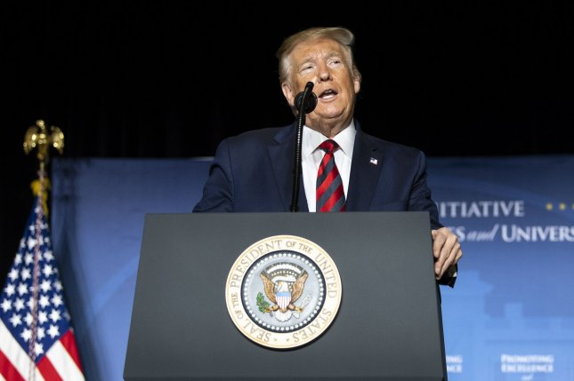 President Donald Trump delivers remarks at the 2019 National Historically Black Colleges and Universities Week Conference on Tuesday in Washington, D.C. Photo by Kevin Dietsch/UPI