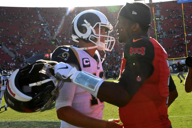 Tampa Bay Buccaneers quarterback Jameis Winston (R) and Los Angeles Rams quarterback Jared Goff (L) led their teams to 982 combined yards of total offense in a Week 4 clash in Los Angeles. Winston threw four touchdowns in the win while Goff threw two scores. Photo by Jon SooHoo/UPI