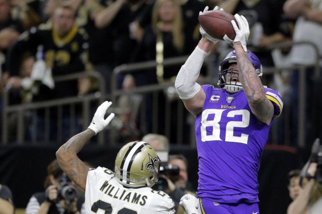 Minnesota Vikings tight end Kyle Rudolph (82) pushed New Orleans Saints cornerback P.J. Williams (26) before jumping to make a game-winning catch Sunday in New Orleans. Photo by AJ Sisco/UPI