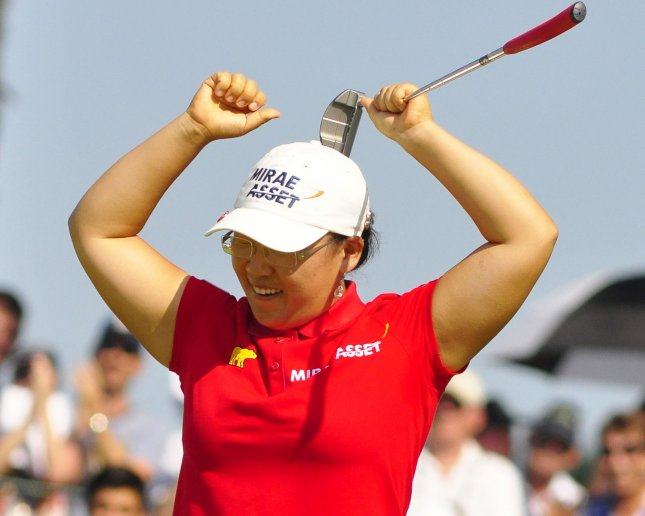 Jiyai Shin, shown in a file photo from a tournament this month, won the LPGA tournament in France Sunday and moved back to the No. 1 spot in the world women's golf rankings. UPI/Archie Carpenter