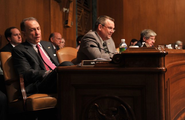Sen. Arlen Specter (D-PA) sits with his fellow Democrats during a Senate Appropriations Committee hearing on the budget estimates for the war supplemental for the FY2009 budget, on Capitol Hill in Washington on April 30, 2009. (UPI Photo/Kevin Dietsch)