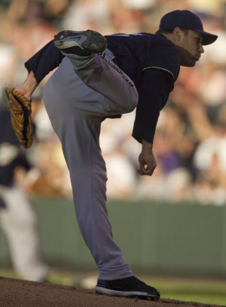 Ben Sheets pitches against Colorado on June 6, 2008. (UPI Photo/Gary C. Caskey)