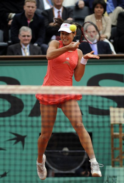 Ana Ivanovic, shown during the French Open, survived a tough second-round match Wednesday at The Championships at Wimbledon, England. (UPI Photo/Eco Clement)