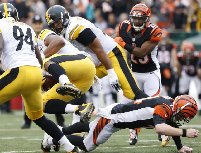 Cincinnati Bengals quarterback Andy Dalton (14) injury's his throwing hand as he tries to tackle Pittsburgh Steelers' Stephon Tuitt (91) during the first half of play at Paul Brown Stadium in Cincinnati, Ohio, December, 2015. Photo by John Sommers II/UPI