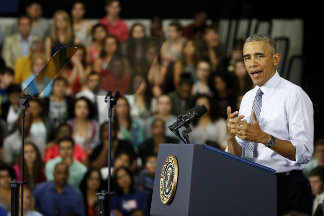 President Barack Obama addresses guests at Concord Community High School in Elkhart, Indiana, on Wednesday, June 1, 2016. Obama returned to Elkhart, the first city he visited as President in 2009, to highlight the nation's economic recovery. Elkhart County's unemployment rate peaked at 18.9 percent in March 2009 and is now down to 4.1 percent. Photo by Kamil Krzaczynski/UPI